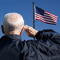 Man saluting flag