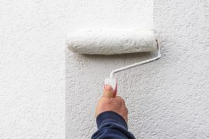 a person painting a wall white